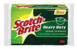 3M SCOTCHBRITE H/DUTY SCRUB SPONGES 3PK W/FREE ITEM